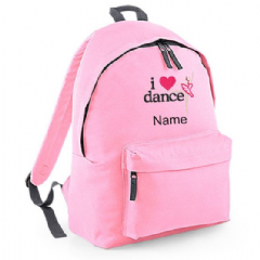 Personalised I LOVE DANCE BALLET Rucksack Backpack  (BG125)